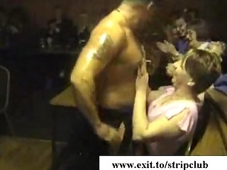 drunk wives attacking cocks in stripper bar