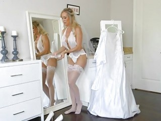 Bride catches her stepdaughter fucking her boyfriend so she joins