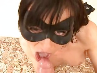 Masked Cecilia Vega is pussy and ass invaded by a duo of dirty dicks