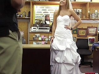 Hot blonde bride swallows a dick in pawnshop for cash