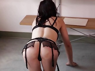 Fat businessman fucks sexy babe in black lingerie on chair