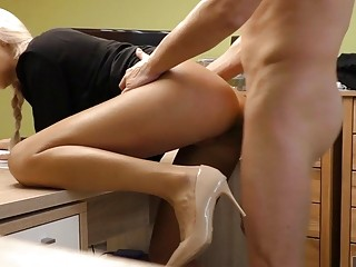 Busty blonde secretary receives heavy pussy pounding in her office