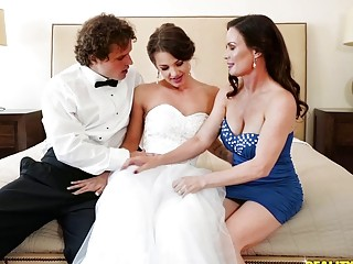 Young bride is joined by her stepmother while pussy drilled