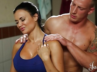 MILF enjoys hot and steamy oral sex after sport practice