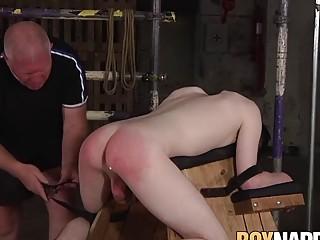 Deviant old master Sebastian Kane dildo fucks his twink sub