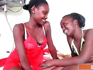 Black Lesbian Teens Lick and Finger Twats