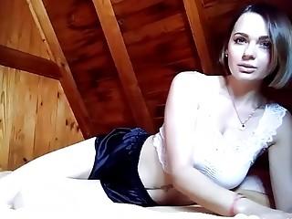 Sexy girlfriend takes off her panties to masturbate
