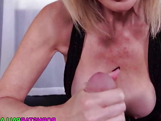 POV porn with blonde cougar jerking cock