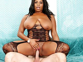 Big Natural Boobs Ebony Ms Mirage Rides a Large Ivory Dick