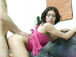 Latina Ladyboy TS Brenda Fuck Anal by Young Guy and Swallow