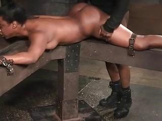 Nice ass bondage ebony throbbed hardcore roughly in BDSM porn