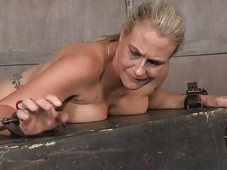 Aggressive stud fucks throat and pussy of juggy blonde Angel Allwood