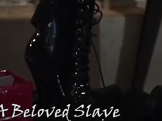 Smoking hot blonde in erotic, black stockings is about to get tied up in the basement