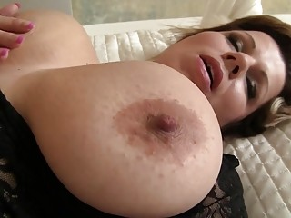 Lingeri And Bedrom Porn Sensitive Milf Silvie Wild In Sexy Black Lingerie Shaking Big Tits, Big Natural Boobs
