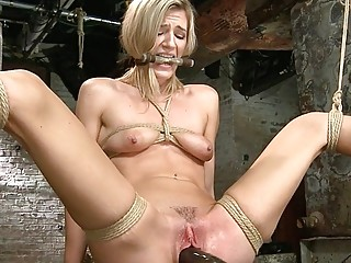 Tied blonde squirter pussy toyed