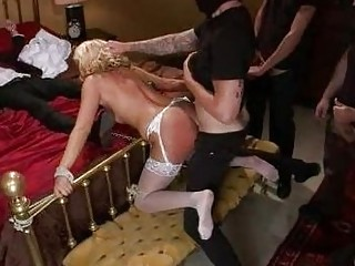 Sexy Bride Wears Hot Lingerie As She Gets Gangbanged