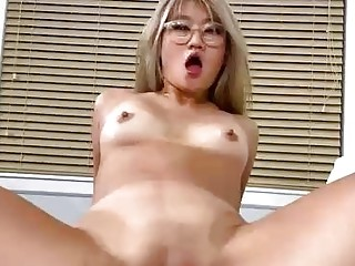 Barely legal, Chinese blonde is moaning while getting banged hard, in front of the camera