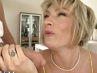 Short hair MILF gets her ass worshiped and sucking dick