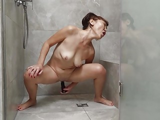 crazy asian grandma toying at the shower