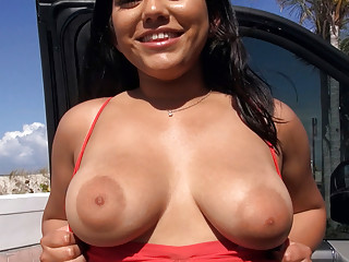 Thick and slutty latina picked up on a beach
