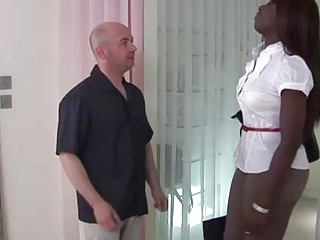 Busty, Ebony brunette, Melvina got down and dirty with a white man and enjoyed it a lot