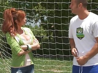 Redhead soccer mom fucked on the field