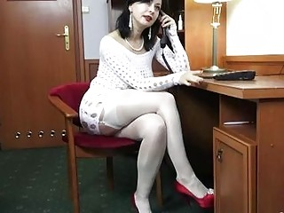 Naughty office lady, Waniliana is showing her natural tits and masturbating, while still at work