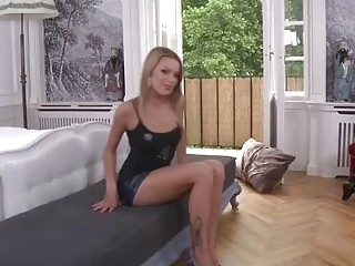 Bernice is a small titted, blonde babe who likes to feel a dildo up her ass