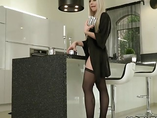 Slutty blonde's ass hole can swallow every type of cock