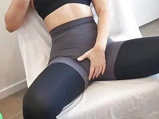 Naughty gal makes her yoga teacher jerk off quite often and cum all over her tights