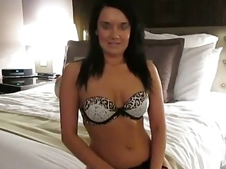 Horny brunette is getting spit- roasted during a mmf threesome, while her husband is at work