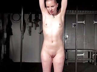 Bald Eryn Rose suspension bondage whipping and rope works spanking